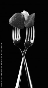 chrome- metal-forks- valentines day-couples- relationship-entwined-food photography