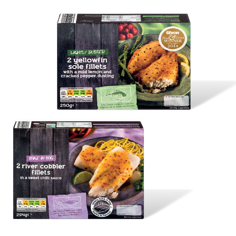 Food photography project for twenty one fish packaging recipes including cod, haddock, salmon, river cobbler and sole for a leading European Supermarket