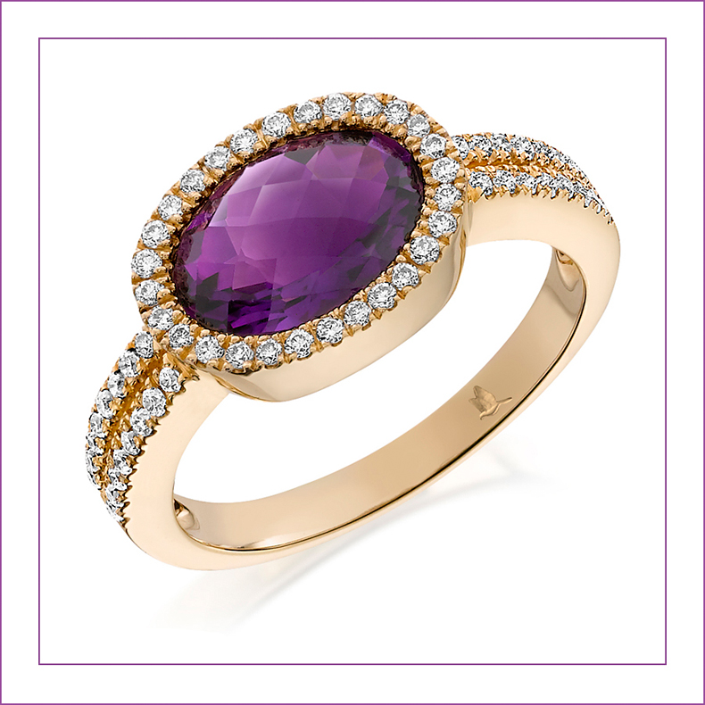 Ring-with a central amethyst stone and encircled with diamonds