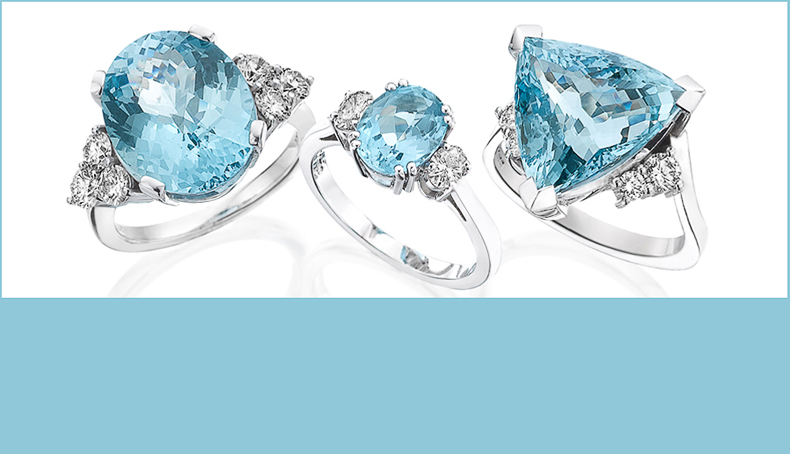 A collection of 3 beautiful Aquamarine rings