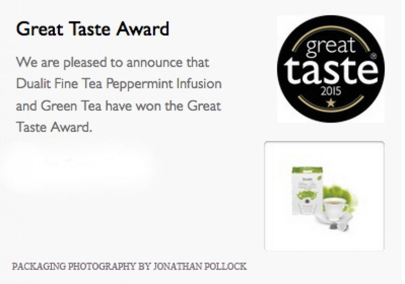 Great Taste Award-Dualit Fine Tea Peppermint Infusion and Green Tea have won the Great Taste Award.
