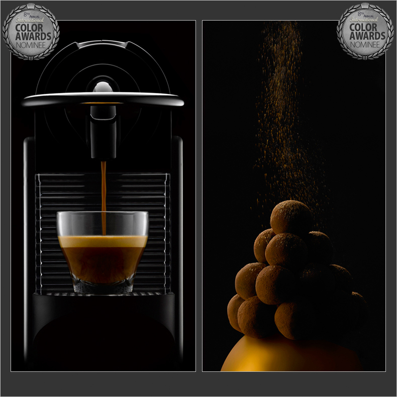 Two photographs- food photography and coffee photography, beverage photography