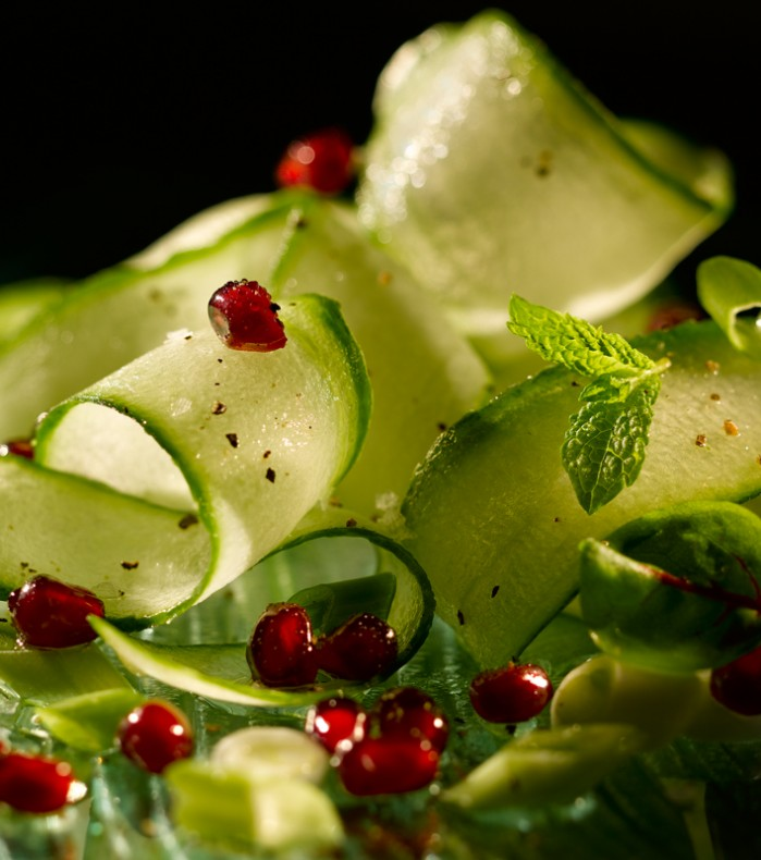 A delightful refreshing salad of pomegranate and cucumber