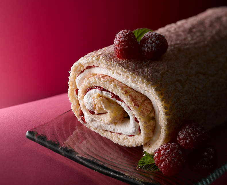 A delightful Raspberry Roulade- ideal for celebrating with friends or family for a Sunday lunch