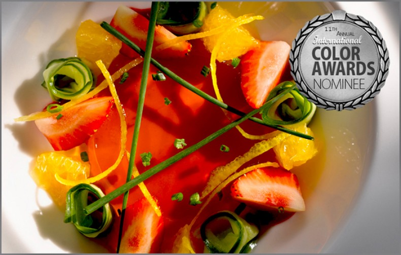 The title of Honorary Colour Master for Nominee in Food awarded in Recognition of Exceptional Achievement in Photography-  The Pimms Summer Cup was produced by Chef Paul Hogben of the Farmers Club