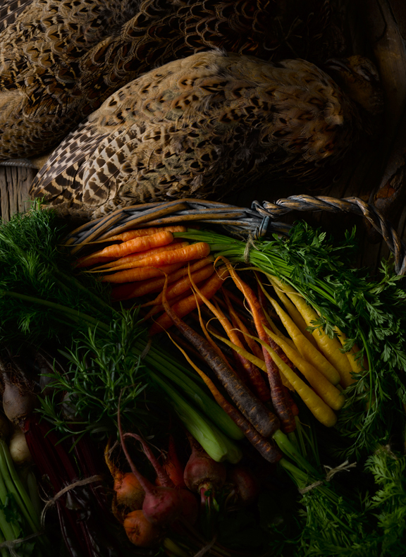 Front cover showing a brace of hen pheasants and various ingredients available from UK Farmers